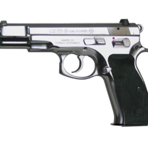 """CZ 75B Stainless DA/SA Semi-Auto Pistol - 9mm, 4.7"""", Glossy Stainless, Rubber Grips, 3-Dot Sights, 2x10rds"""
