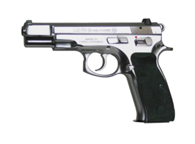 "CZ CZ 75B Stainless DA/SA Semi-Auto Pistol - 9mm, 4.7"", Glossy Stainless, Rubber Grips, 3-Dot Sights, 2x10rds"