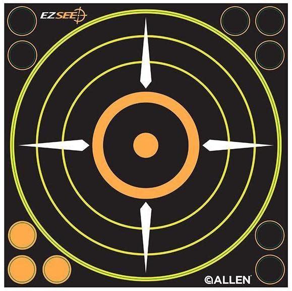 """Allen Allen EZ See Adhesive Bullseye Target, 8.5"""" x 8.5"""", Pack of 6"""