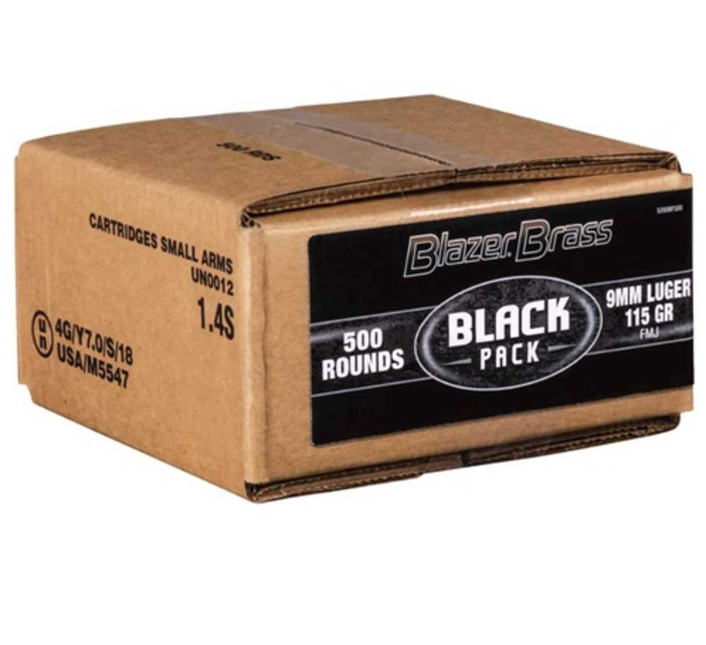 Blazer (CCI) CCI Blazer Brass Black Pack 9mm 115gr 500RDS