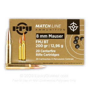 PPU Prvi PPU Match 8mm Mauser 200 GR Full Metal Jacket Ammunition Box Of 20