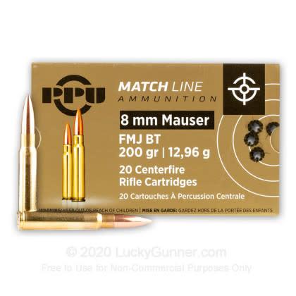 PPU Prvi PPU Match 8mm Mauser 200 GR Full Metal Jacket Ammunition Box Of 20