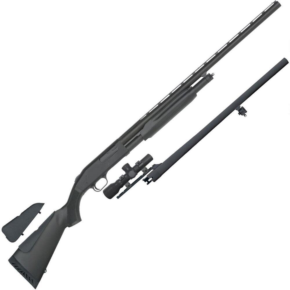 "Mossberg Mossberg 500 Field And Slug Combo Pump Action Shotgun 12 Gauge 28"" And 24"" Barrels W/ 2.5x20 Scope Synthetic Stock"