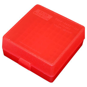 MTM MTM P-100-22M-29 Case-Gard Ammo Box 100 Round Flip Top For 22 Mag – 17 HMR Clear Red