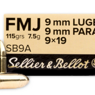 Sellier & Bellot Sellier & Bellot 9mm Luger 115 Gr. FMJ Box of 50