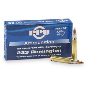 PPU PPU 223 Rem 55 gr FMJ BT Box of 20