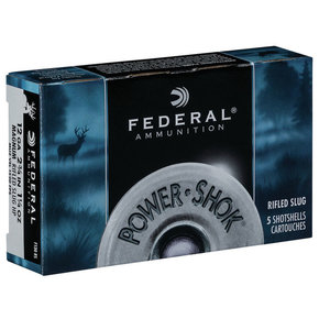 "Federal Ammunition Federal Power Shok Rifled Slugs 12 Gauge 2-3/4"" 1-1/4 oz. Box of 5"