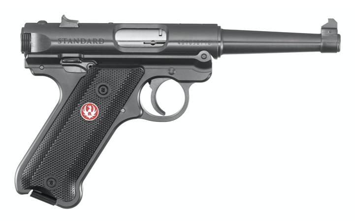 """Ruger Ruger Mark IV Standard Semi-Auto Pistol .22LR 4.75"""" Barrel 10 Rounds Fixed Sights Checkered Synthetic Grips Aluminum Frame Blued Finish"""