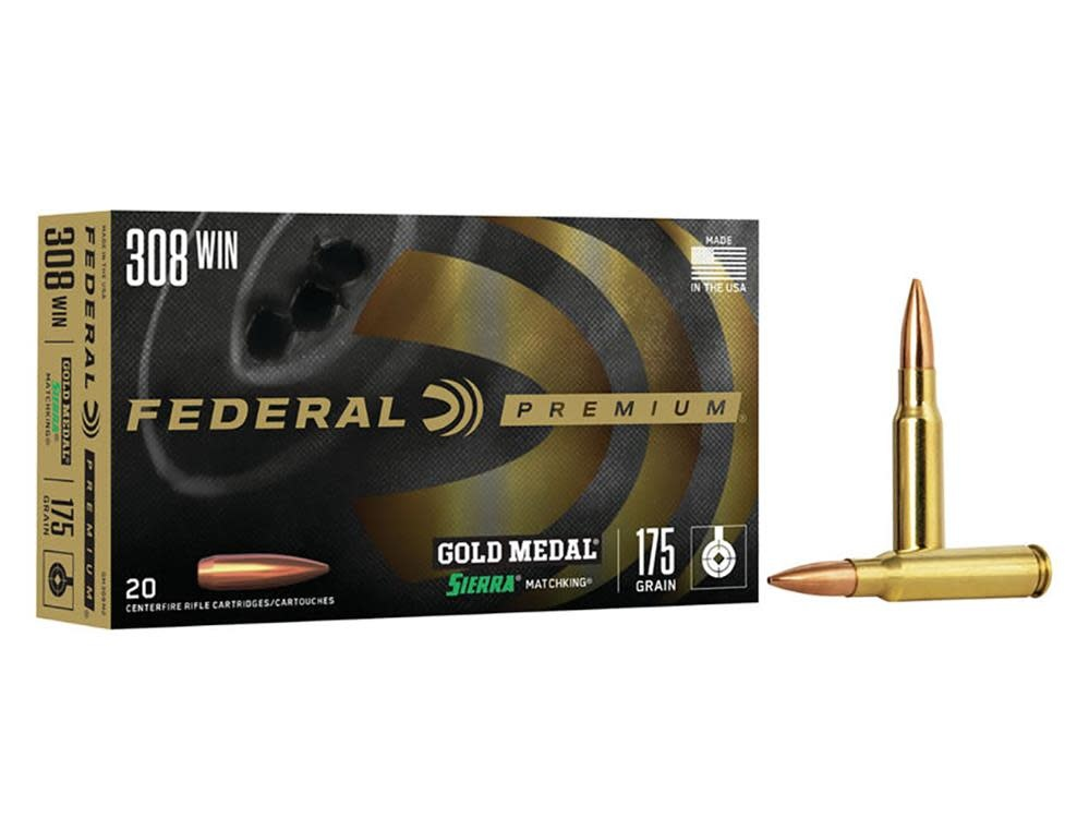 Federal Ammunition Federal Premium Gold Medal 308 Winchester 175 Grain Sierra MatchKing Hollow Point Boat Tail