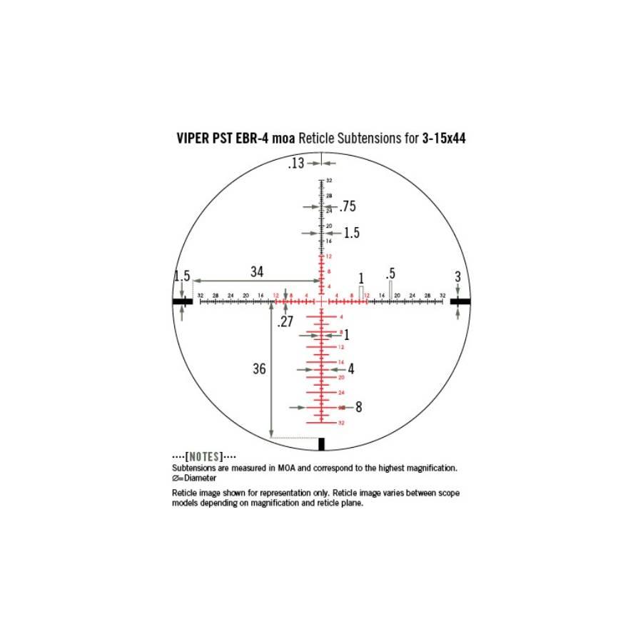Vortex Optics Vortex Viper PST 3-15x44 SFP Riflescope with EBR-4 MOA
