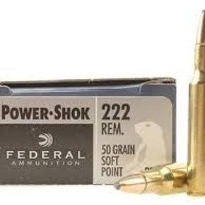 Federal Ammunition FEDERAL POWER-SHOK 222 REMINGTON 50 GR. SP BOX OF 20