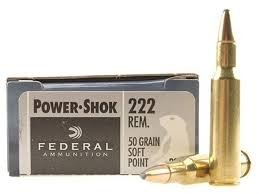Federal Ammunition FEDERAL POWER-SHOK 222 REMINGTON 50 GR. SP BOX OF 20