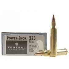 Federal Ammunition FEDERAL POWER-SHOK 223 REMINGTON 55 GR. SP BOX OF 20