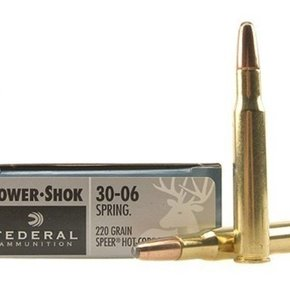 Federal Ammunition FEDERAL POWER-SHOK AMMUNITION 30-06 SPRINGFIELD 220 GRAIN SPEER HOT-COR SP BOX OF 20