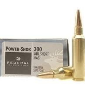 Federal Ammunition FEDERAL POWER-SHOK 300 WIN SHORT MAG 180 GR SOFT POINT NOSE SOFT POINT BOX OF 20