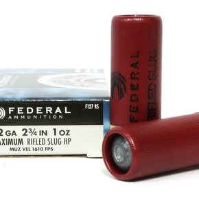 "Federal Ammunition Federal Power Shok 12 Gauge 2 3/4"" Rifled Slug HP Box Of 5"