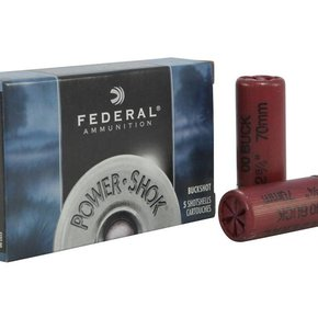 "Federal Ammunition Federal 12 Gauge 00 Buck 2 3/4"" Box of 5"