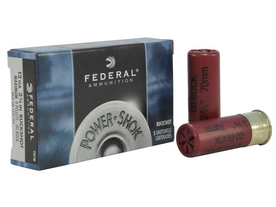 """Federal Ammunition Federal 12 Gauge 00 Buck 2 3/4"""" Box of 5"""