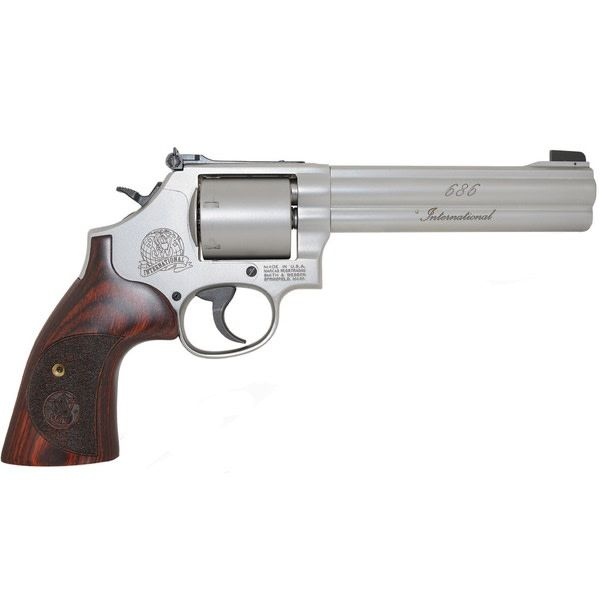 "Smith & Wesson Smith & Wesson 686 International Revolver, .357 MAG, 6"" Barrel, Stainless, Unfluted Cylinder, 6 Round"