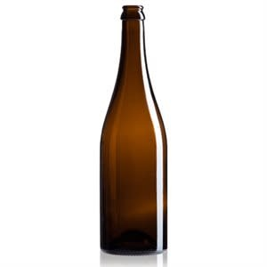 750 ml, 26mm Amber Champagne Bottles Full Punt, Crown or Cork Finish - Case / 12
