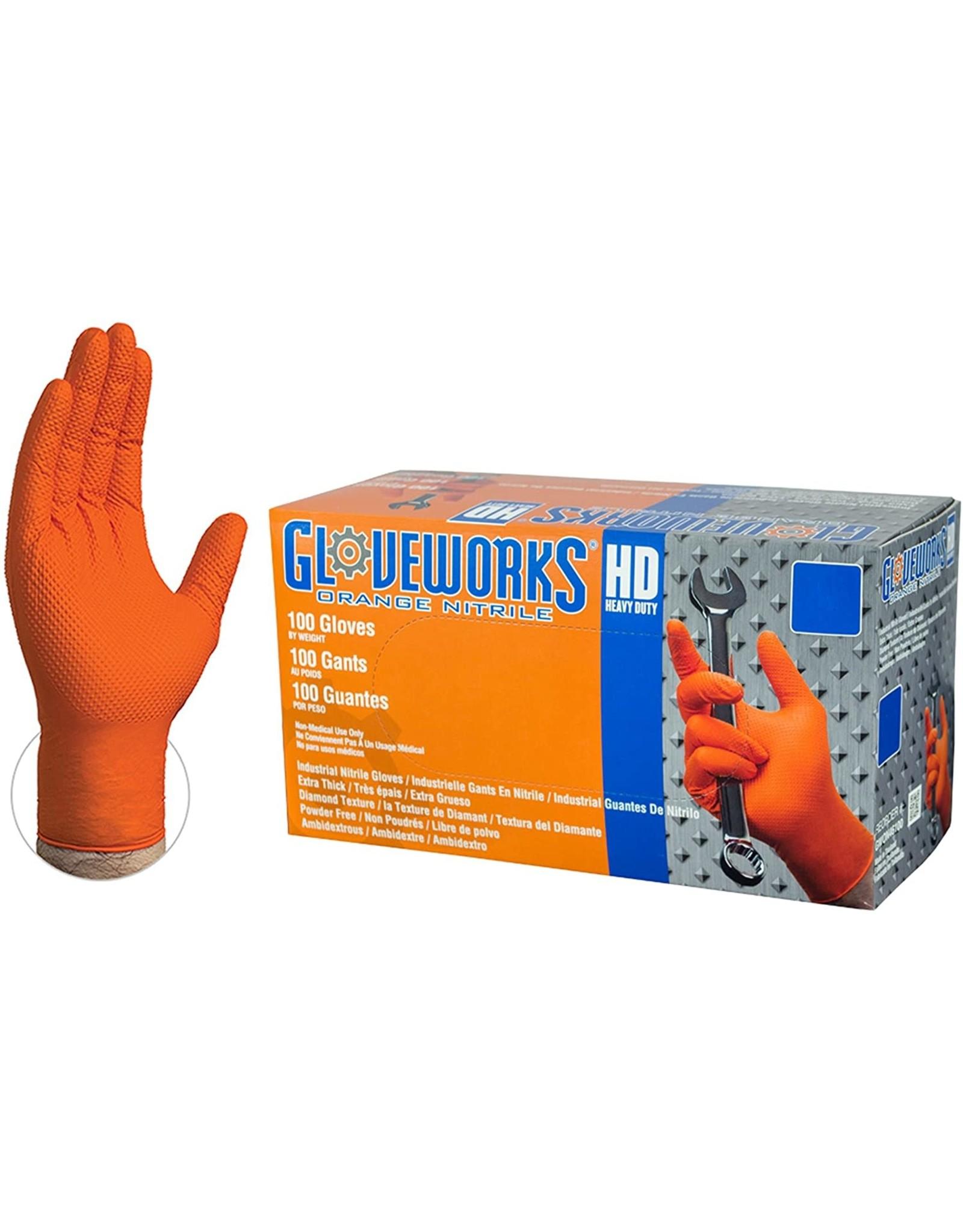Orange Heavy Duty Nitrile Gloves (Large) 8MIL - 100 pack
