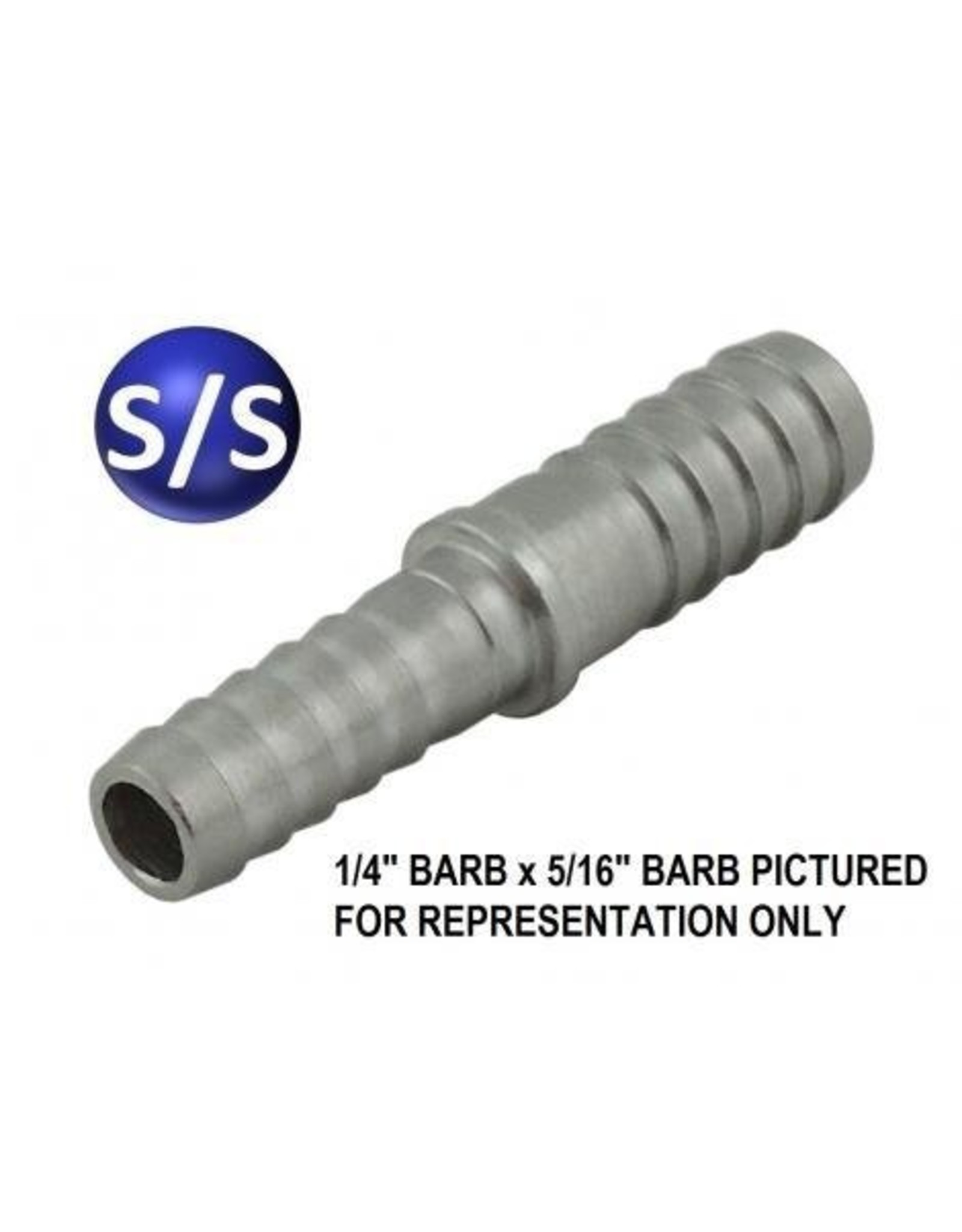 Hose Barb Splicer SS 5/16B X 1/4B