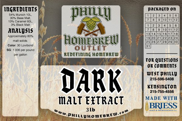 PHO 3lb Dark LME Malt Extract