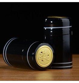 PVC Black w/Silver Stripes Shrink/Capsule 500ct