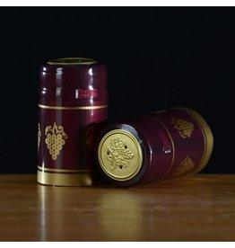 PVC Burgundy w/Gold Grapes Shrink/Capsule 500ct