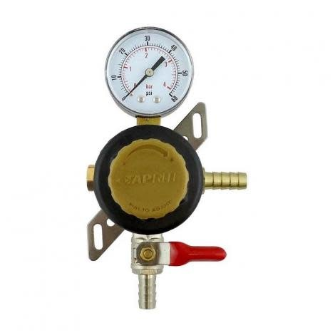 Secondary Co2 Regulator W/ 5/16b Shutoff, 60# Gauge, and plug