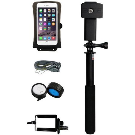"DiCAPac Waterproof Action Case for Smartphone up to 5.8"" and Floating Selfie Stick Kit"