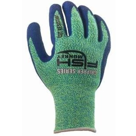 Fish Monkey Gloves Filet Gripper Glove, Cut resistant- (neon Green / Royal-L/XL)