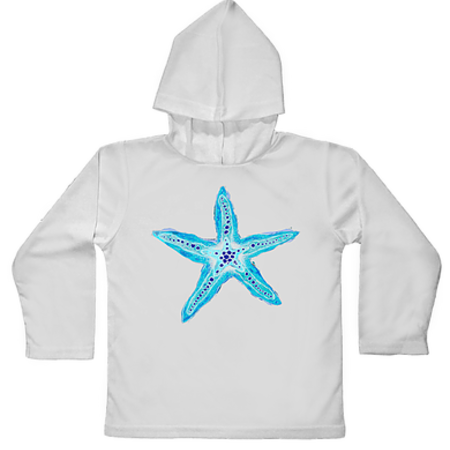 Jessie Jessup Toddler Hooded SPF Shirt Blue Seastar