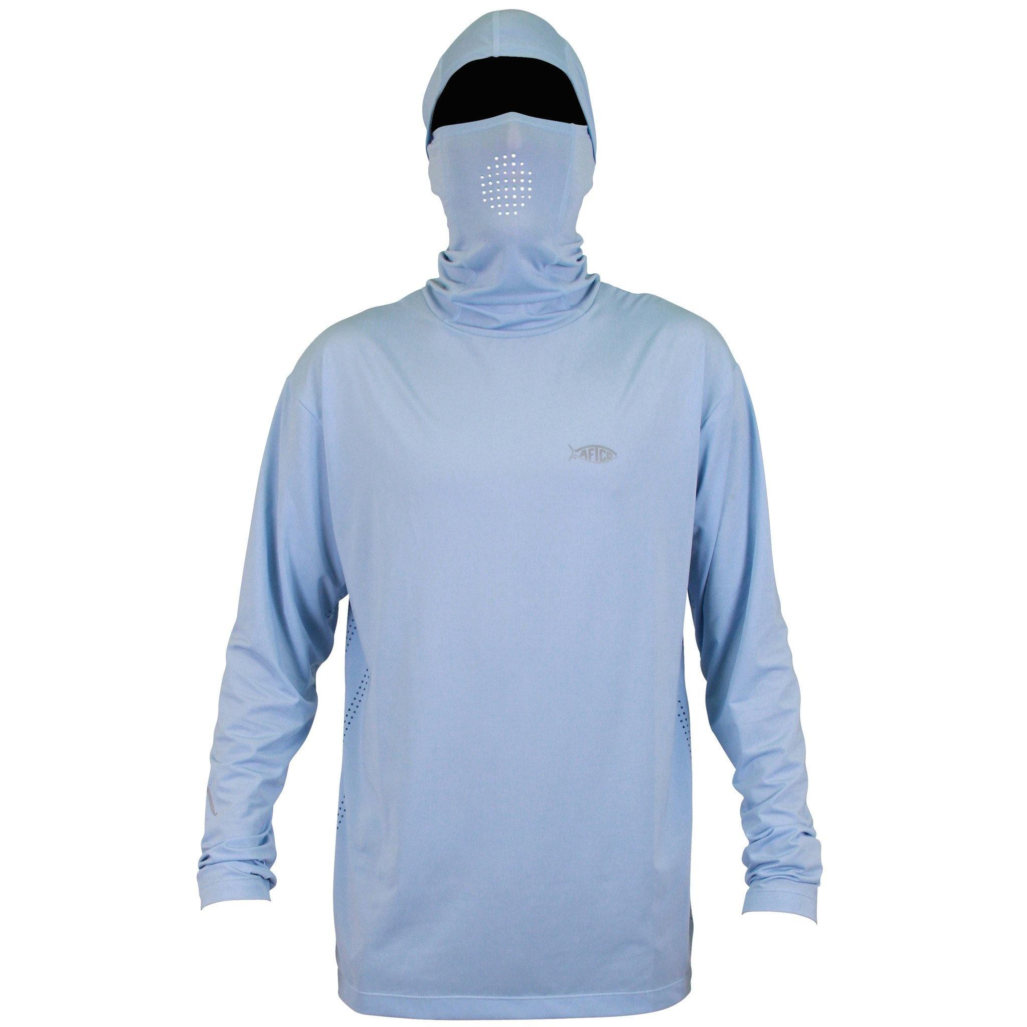 Aftco Fish Ninja LS Hooded Shirt Light Blue