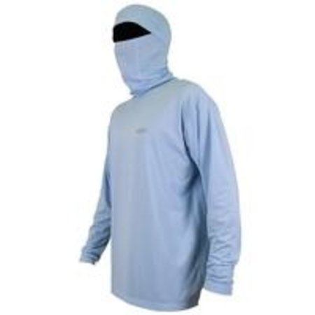 Aftco Fish Ninja LS Hooded Shirt Light Blue