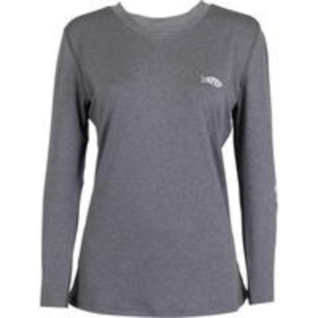 Aftco Women's Jigfish LS Shirt Charcoal Heather