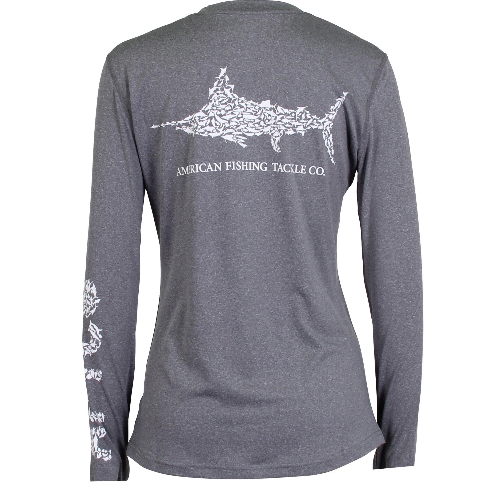 Aftco Women's Jigfish LS Shirt Charcoal Heather