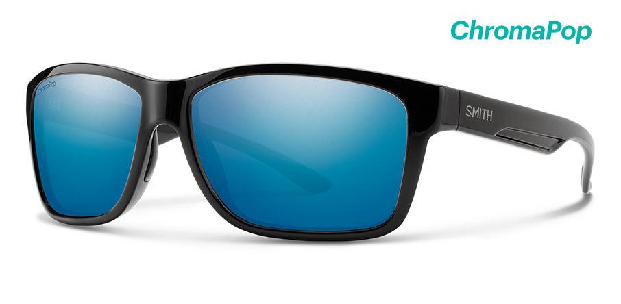 Smith Optics Drake Sunglasses Black Frame/CP Blue Mirror Glass