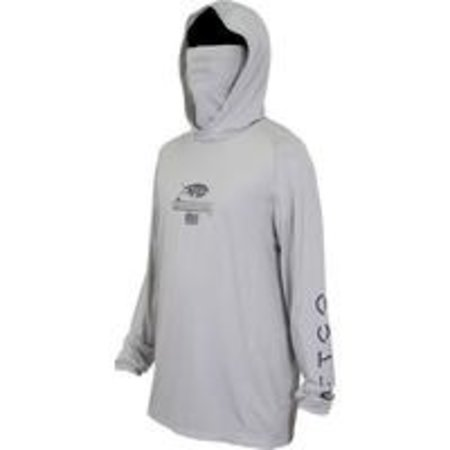 Aftco Barracuda GeoCool Hooded UPF Shirt Silver Heather