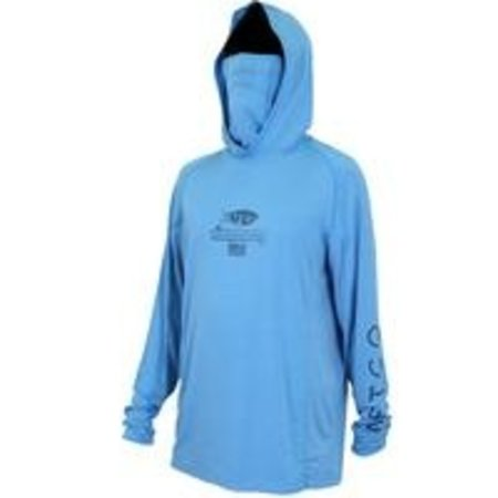 Aftco Barracuda GeoCool Hooded UPF Shirt Vivid Blue Heather