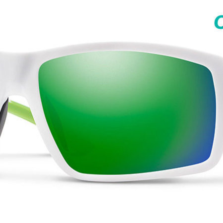 Smith Optics Hookshot Sunglasses Matte White Frame/CP Green