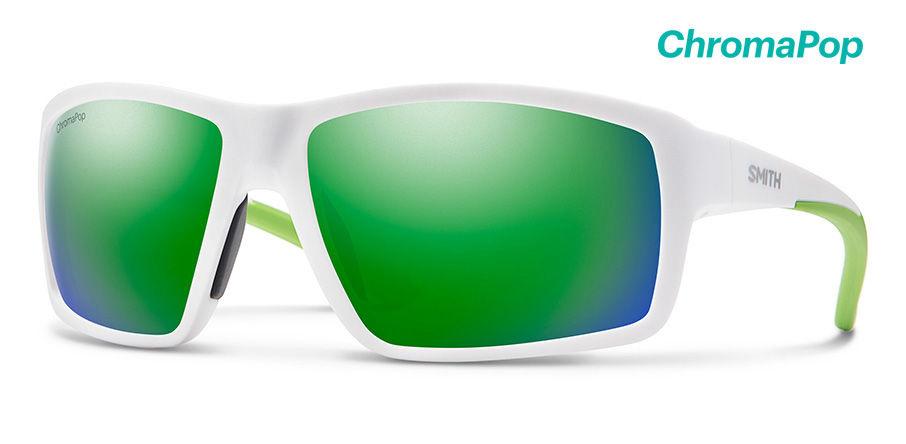 Smith Optics Hookshot Sunglasses Matte White Frame/CP Green