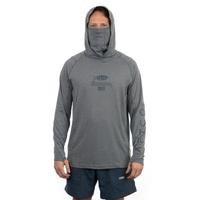 Aftco Barracuda GeoCool Hooded LS Shirt Heather Gray