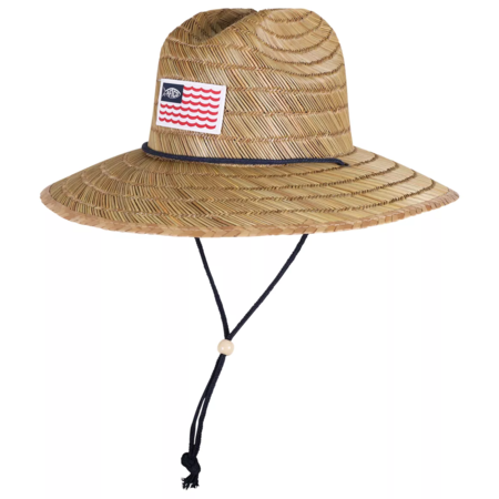 Aftco Palapa 3 Straw Hat US Flag Natural