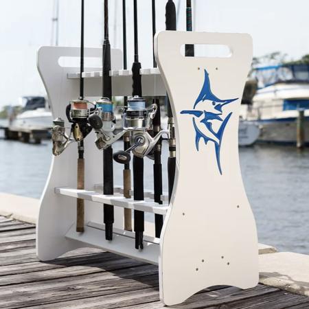 Sea Racks Rod Rack White w/Blue Marlin