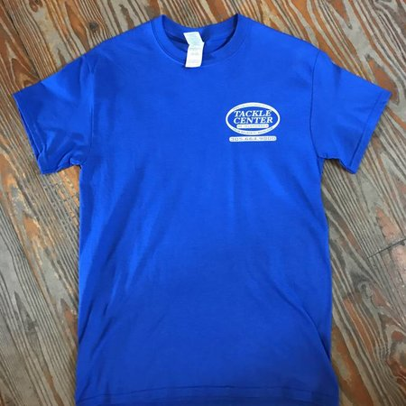 Tackle Center Short Sleeve Cotton T Shirt Blue