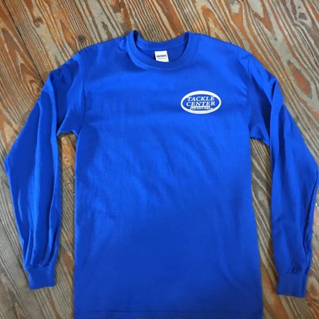 Tackle Center Long Sleeve Cotton T-Shirt Blue
