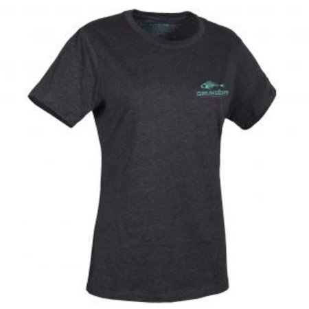 Grundens Women's Logo T-Shirt Charcoal with Blue
