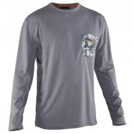 Grundens Fish Head Long Sleeve Performance Shirt Monument Grey