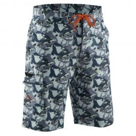 Grundens Fish Head Shorts Gray Camo